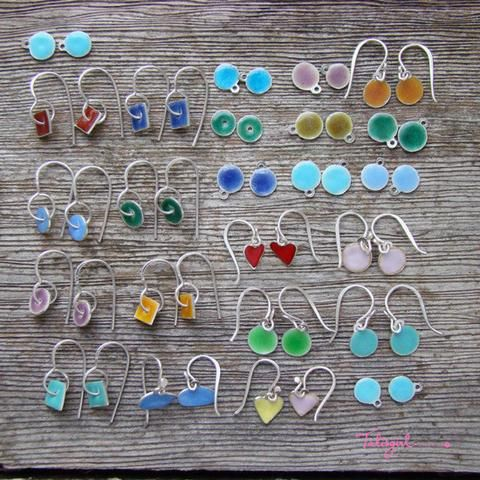 'Colour Me' earrings in sterling silver and vitreous coloured enamels - to match your mood. Made in Cape Town byTalisgirl Charms
