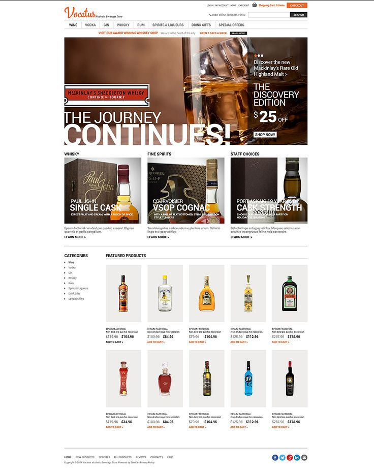 Quality Alcohol #ZenCart #Responsive Template via @medosadvert by @templatemonster #52082