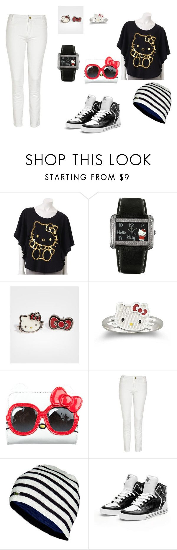 """hello kitty outfit"" by still-into-malik ❤ liked on Polyvore featuring Hello Kitty, M.i.h Jeans, Lacoste and Supra"
