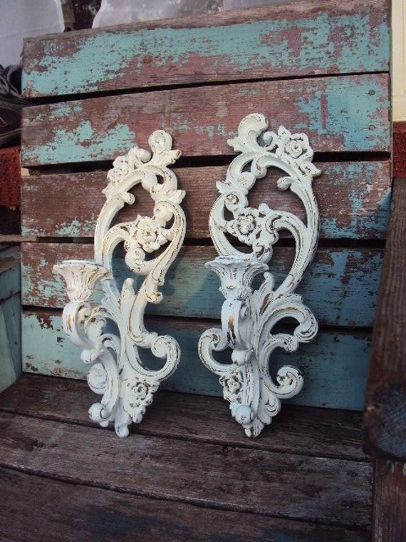 Vintage Shabby Chic Candelabra Wall Sconce Set Candle Holders Repurposed Distressed Chippy Baroque Rococo French Country Candle Holder – Brenda Bensley