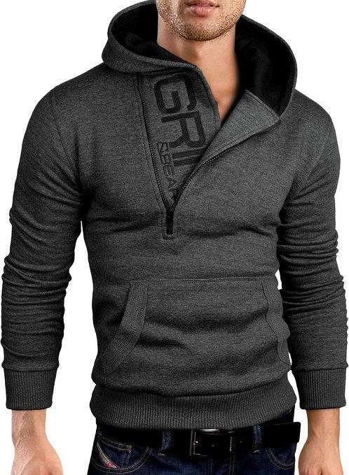Grin&Bear Slim Fit half zip Hoodie Jacket embroidered Sweatshirt, GEC401 at Amazon Men's Clothing store: