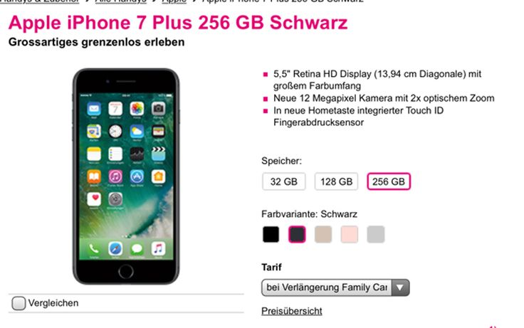 iPhone 7 Vertragsverlängerung (VVL) bei Telekom bereits möglich! - https://apfeleimer.de/2016/09/iphone-7-vertragsverlaengerung-vvl-bei-telekom-bereits-moeglich - Telekom Vertragsverlängerung mit iPhone 7 und iPhone 7 Plus bereits möglich! Unser Leser Stephen macht uns gerade darauf aufmerksam, dass das iPhone 7 bei Telekom / T-Mobile bereits für Bestandskunden, die eine Vertragsverlängerung mit iPhone 7 planen, im Online Shop möglich ist! Solltet ihr also...