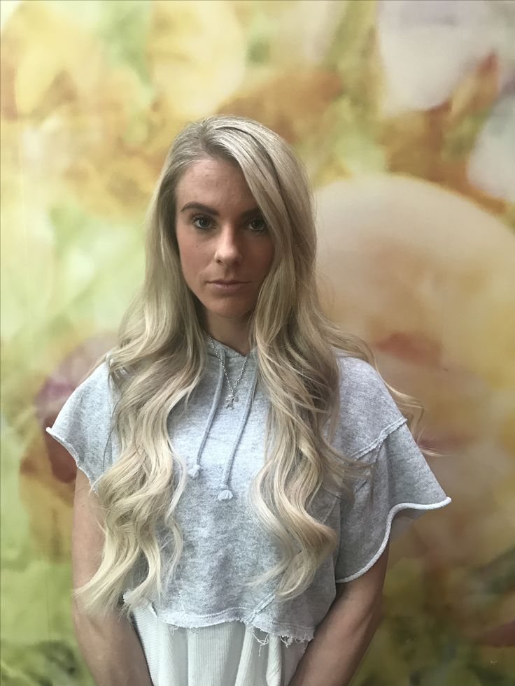 Full head of great length hair extensions bonds along with soft creamy highlights  Hair by Amy Martin