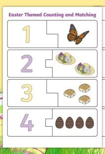 Easter Themed Counting and Matching Puzzle Worksheets