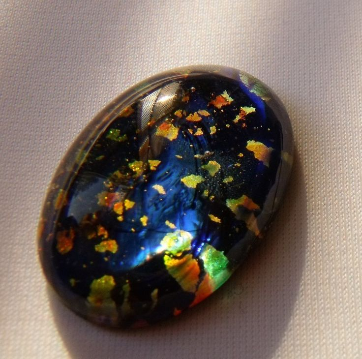 Midnight Blue Harlequin Opal 25 X 18mm Opulent Opal