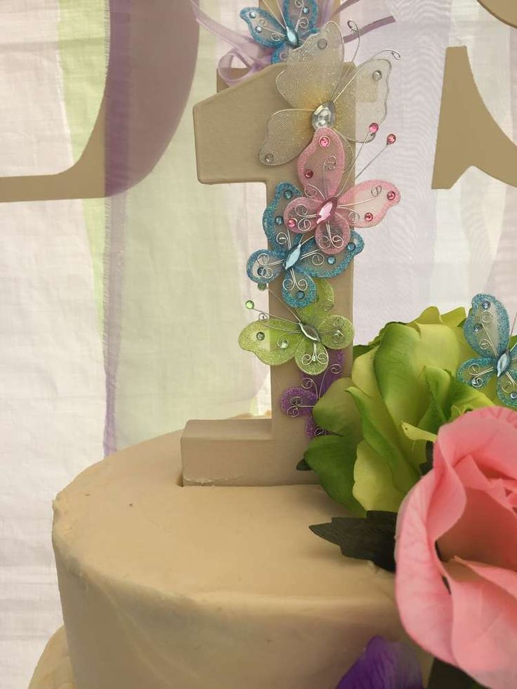 Cake topper at a butterfly birthday party! See more party planning ideas at CatchMyParty.com!