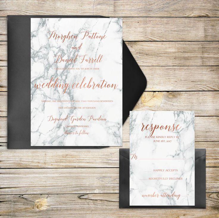 Rose Gold, Marble Wedding Invitation, Wedding Invitation, Elegant, Modern, Rose Gold, Copper, Marble, Formal, Black by WhiteLaceStylists on Etsy https://www.etsy.com/listing/465218947/rose-gold-marble-wedding-invitation