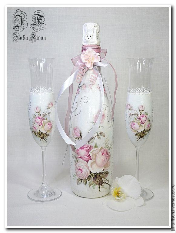 """Купить Свадебный комплект """"Нежные Розы"""" - свадьба, свадебные аксессуары, свадебный подарок, свадебное шампанское"""