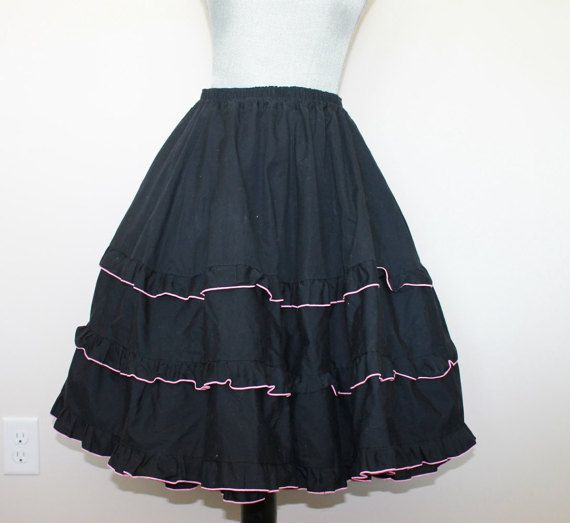 Vintage Black Skirt   3 Tiered Cotton Skirt with by FunkieFrocks