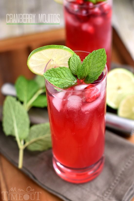 Cranberry Mojitos are perfect for any night but especially a celebration! Tart, sweet, refreshing, and delicious - everything a good cocktail should be.  Perfect for the holidays: Christmas, New Year's Eve and more! // Mom On Timeout