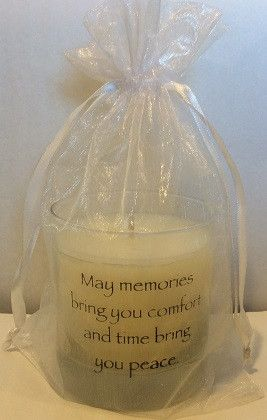 This candle offers peace in the solace of candlelight when someone close has passed. Made of soy, this memorial candle comes in a white organza bag and has two sayings on the glass container. This can