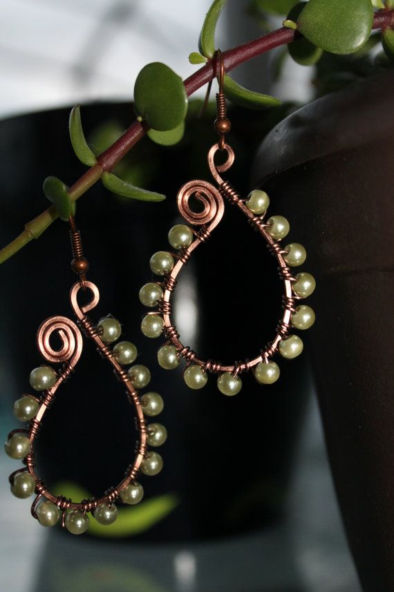 Antique copper earrings, wire wrapped jewelry handmade, pearl earrings