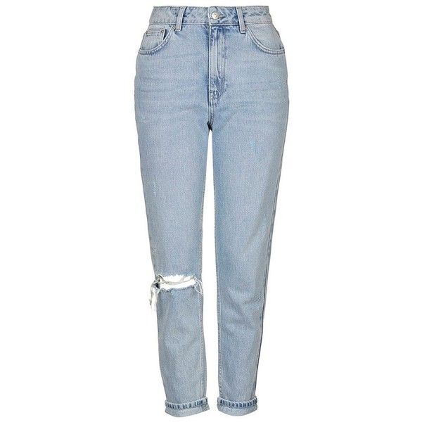 Women's Topshop High Rise Ripped Mom Jeans ($75) ❤ liked on Polyvore featuring jeans, pants, trousers, topshop jeans, distressed jeans, torn jeans, destroyed jeans and blue high waisted jeans