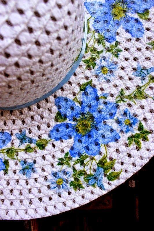 decoupage σε ψάθινα καπέλα   Woody's Crafts by Ifigeneia