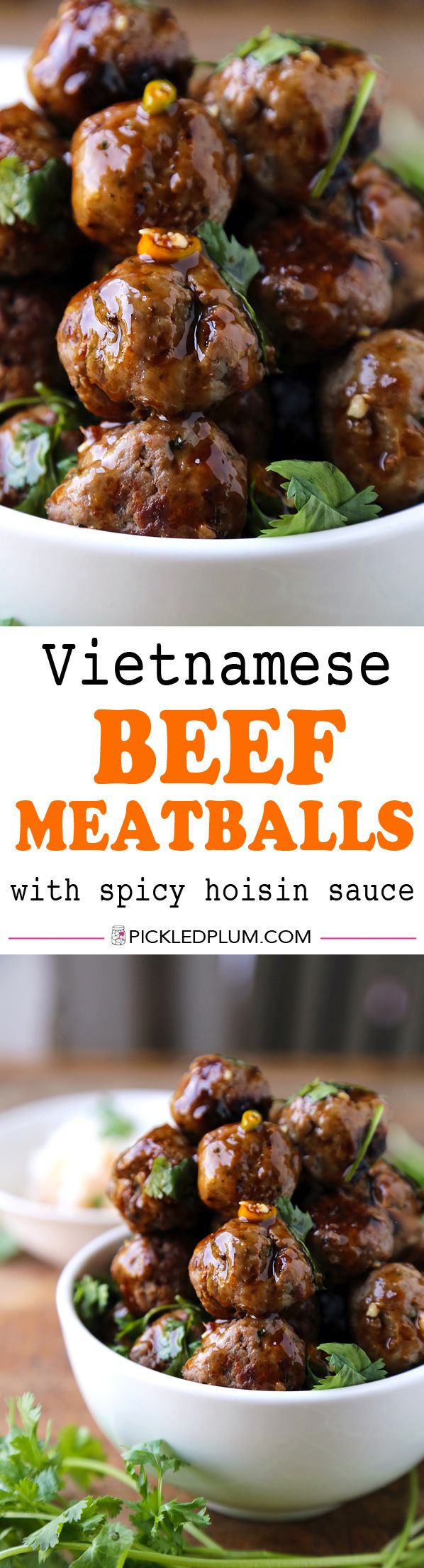 Vietnamese Beef Meatballs With Spicy Hoisin Sauce - SO easy to make! The tastiest, most savory meatballs you've ever tasted! We love these with freshly sliced tomatoes and coriander!   pickledplum.com