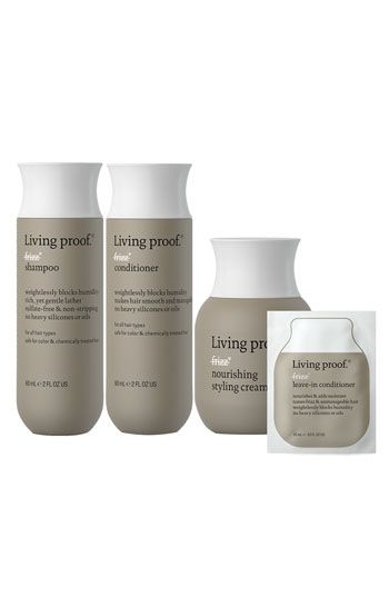 Sulfate Free~Silicone Free~Oil Free   This weightless product gives hair a smooth, frizz free look while hydrating and adding shine.   Living proof® 'No Frizz Discovery' Set