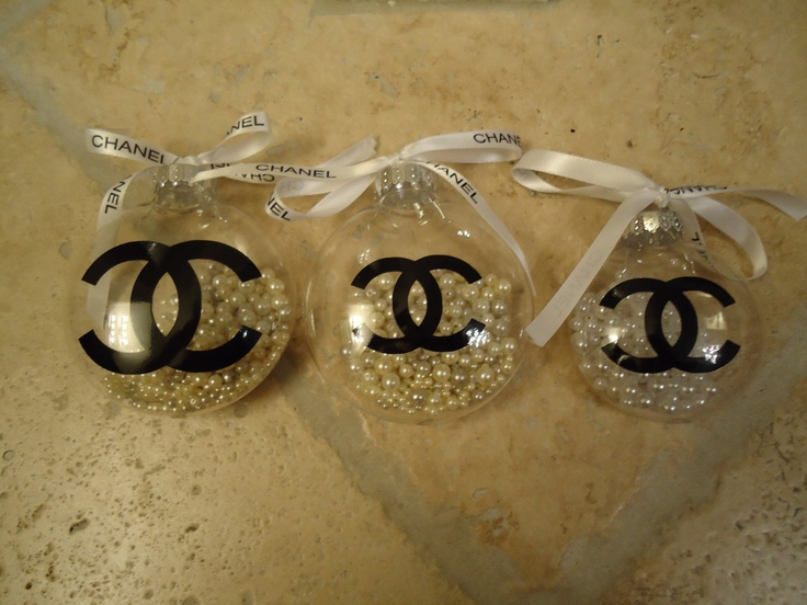 Chanel Inspired Christmas Tree Ornament With Pearls And