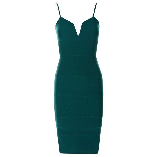 Zula Teal Plunge 'V' Neck Sleeveless Bandage Bodycon Dress ❤ liked on Polyvore featuring dresses, blue cocktail dress, v neck bodycon dress, blue bodycon dress, body con dresses and plunging neckline cocktail dress