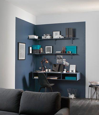 Coin bureau mis en lumière par 1 couleur différente ☆ chambre ado ☆  coin bureau ☆