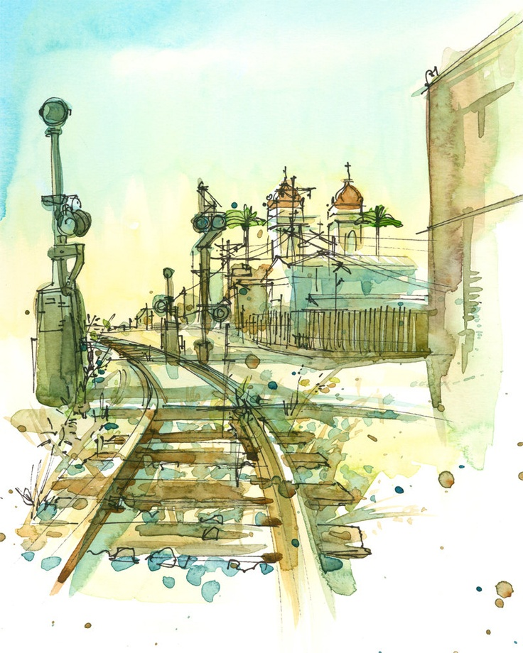 Railroad Tracks, An Urban Sketch - 8x10 print in ochre, teal blue, brown mustard and gold. via Etsy.