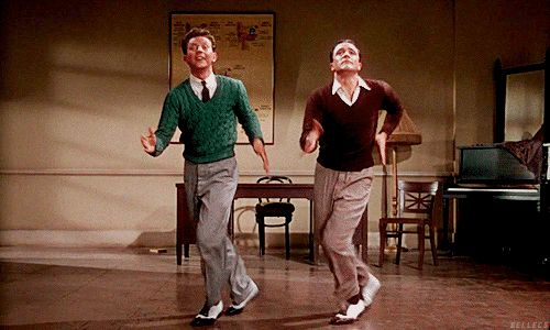 Donald O'Connor and Gene Kelly in Singin' in the Rain | 23 Classic Hollywood GIFs That Are Better Than A Time Machine
