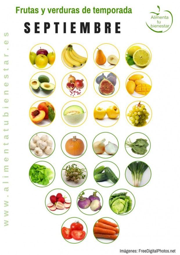 Frutas y verduras de temporada para septiembre #alimentatubienestar Sigue el enlace de la imagen y descárgate el calendario en pdf para todo el año