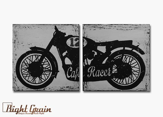 Vintage Cafe Racer Wall Art - Custom Made Motorcycle Decor - Great Gift