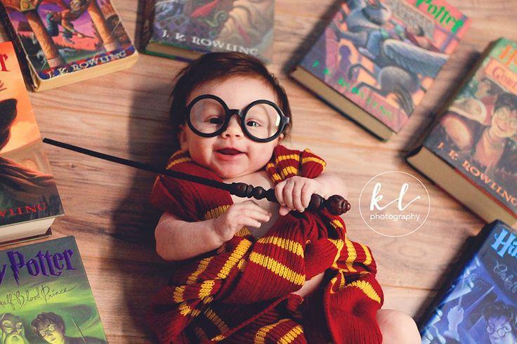 Bebê de 3 meses faz ensaio fotográfico inspirado em Harry Potter