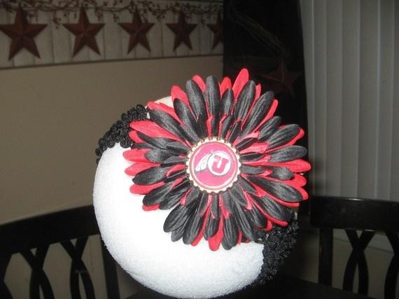 UTAH UTES Football Flower or Headband by sylviasstyles on Etsy, $6.99