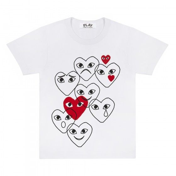 Play T-Shirt with Scattered Emoji Hearts (White)