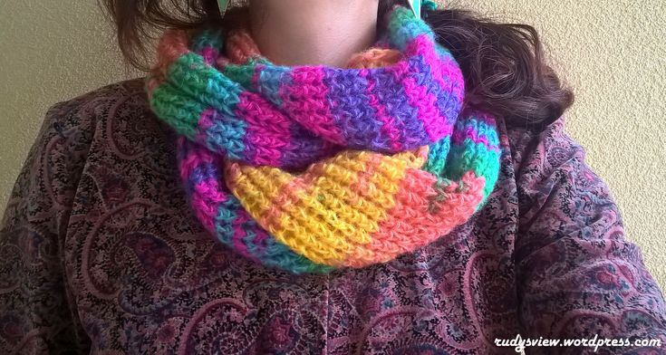 Multicoloured wool scarf