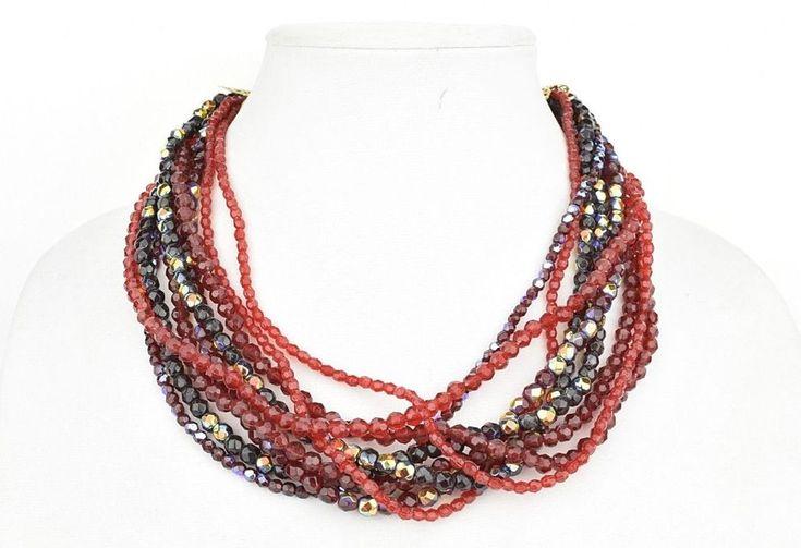 STUNNING VINTAGE ESTATE RED AURORA BOREALIS PLASTIC BEAD MULTI-STRAND NECKLACE  | eBay