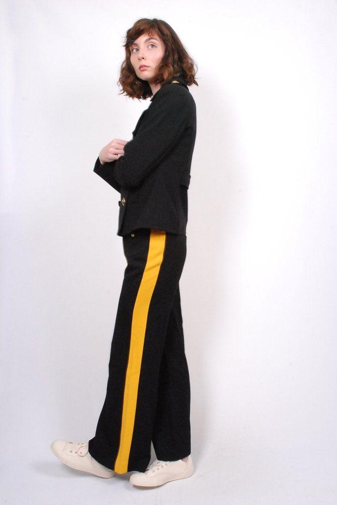 Smythe Officer Pant- Black w/ Yellow