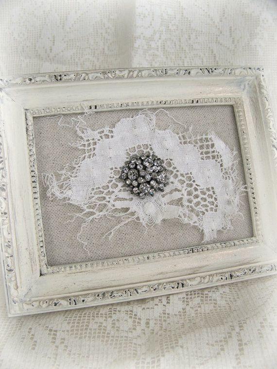 Shabby White Decor Lace Collage Vintage Rhinestone