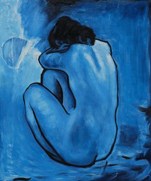"""Picasso - Blue Nude - 1902 - painted in Paris during his """"blue period"""" ."""