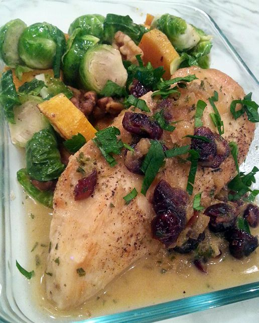 Seared chicken with white wine, cranberry, Dijon, pan sauce, maple roasted butternut squash, sprouts and walnuts.   Just one example of the mouth-watering meal prep dishes made daily by our personal chefs. www.friendthatcooks.com  #FriendThatCooks #PersonalChef #MealPrep #Seared #Chicken #WhiteWine #Cranberry #Dijon #PanSauce #MapleRoasted #ButternutSquash #Sprouts #Walnuts #ThursdayThoughts #Fitness #Motivation #Foodie #Lifestyle #HealthyLifestyle #Food #healthy #Eat #Fit #Fitspo…