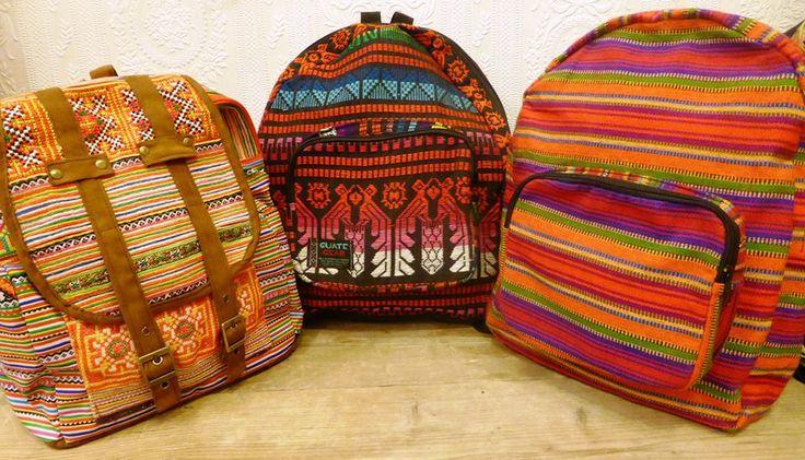 Handmade backpacks from Guatemala and Thailand with aztec print / Handgemaakte tassen uit Guatemala en Thailand met aztec print