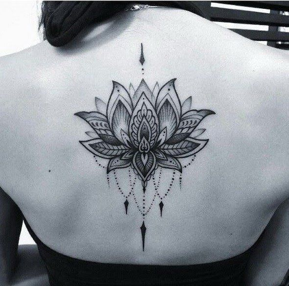 Black and Gray Dotwork Lotus Tattoo.
