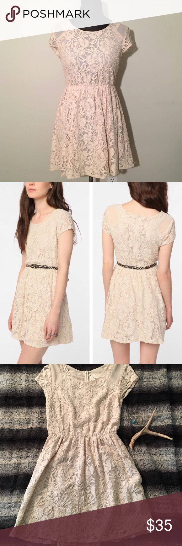 Beige/Cream Short Lace Dress Urban Outfitters lace dress • Short & Sweet • Worn one time • No Damages or Flaws • Perfect for any occasion <3 #urbanoutfitters #dress #shortdress #lacedress #fitandflaredress #springdress #weddingdress #showerdress #easterdress #creamdress #beigedress Urban Outfitters Dresses Mini