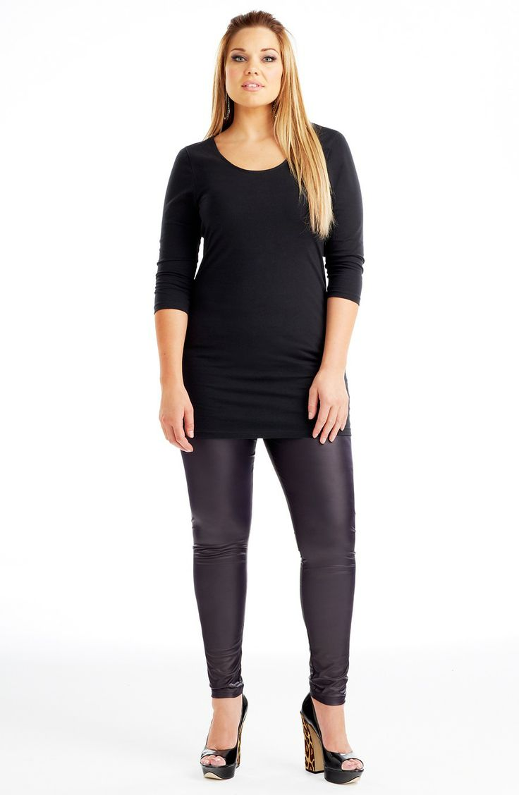 Leather Effect Leggings/Deep Plum Style No: P4080 Matte stretch vinyl legging. This ankle length legging has an elastic waist and matte finish all-over - the perfect leather look legging! #fashion #plussize #2013