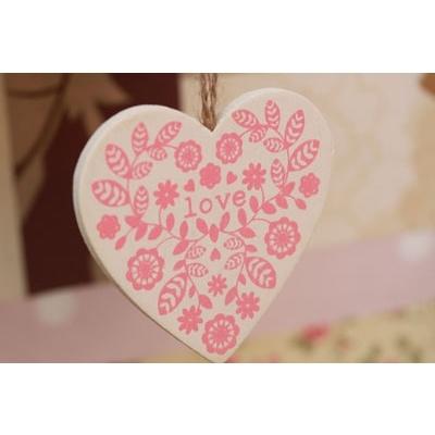 Gisela Graham Wooden Heart on Twine Pink