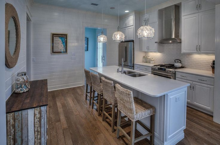 Cottage Kitchen with Breakfast bar, CabinetHub 2 Piece Revere C-Panel RTF Cabinet Doors, Frosted White, Marble, One-wall