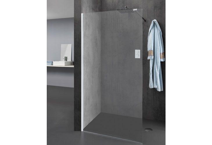 Parete doccia WALK IN in cristallo temperato di sicurezza trasparente reversibile da spessore mm. 8 con profili alluminio cromo e barra stabilizzatrice regolabile in lunghezza. Disponibili in varie dimensioni e altezza cm. 200 Possibilità di abbinare due pareti per realizzare diverse configurazioni di box doccia Walk In.