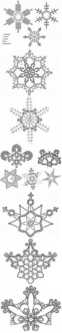 ..Crochet snowflakes charts .