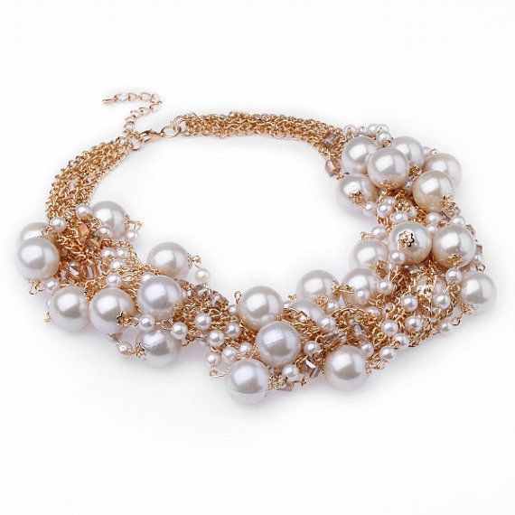 FJ Fashion Gold Chain White Faux Pearl Crystal by Glamorosajewelry