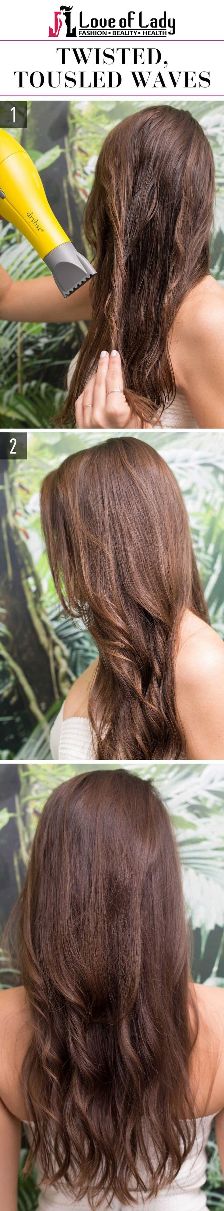 Twisted, Messy Waves Turn the segments of damp hair follicles (make the segments big or small if you wish looser or tighter waves, correspondingly) and gust with a blow-dryer, focusing the heat down so you don't unsettle the cuticle and source frizz. After your complete head is in dry twists, isolate the twists with your fingers for the messy and beachy waves.