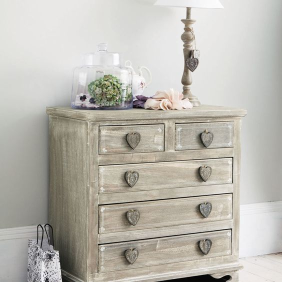 greyed paulownia wood chest of drawers w 74cm camille maisons du monde