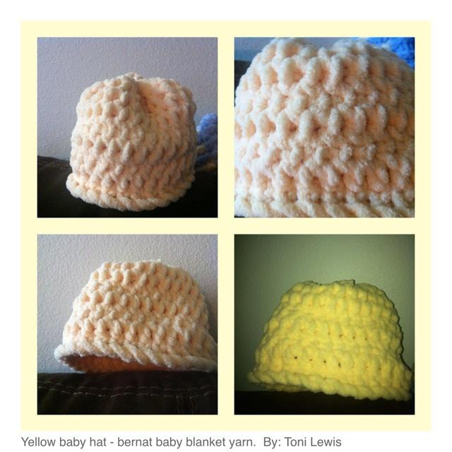 Knitting Patterns Using Bernat Baby Blanket Yarn : Yellow baby hat made with Bernat baby blanket yarn. my knitting/crochet P...