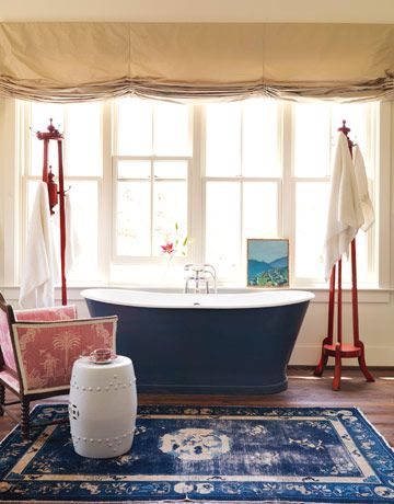 Love real rugs in the bath. Also love this tub.Bathroom Design, Modernbathroom, Modern Bathroom, Blue, Bathtubs, Bathroomdesign, House, Gardens Stools, Rugs