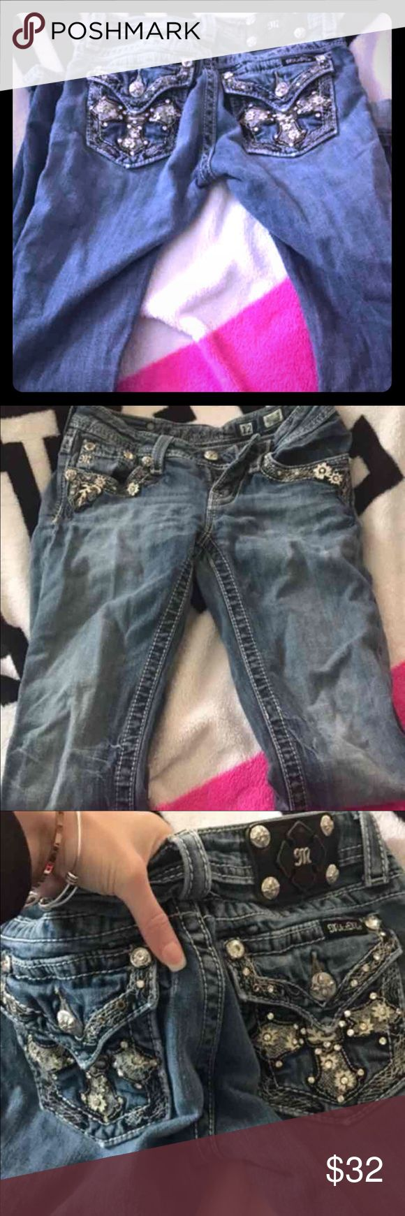 Girls Miss Me Jeans Girls size 12 Miss Me jeans. I'm anywhere from a 00 to a 1 and these fit fine. I bought these under the impression they were new, however I have pictures two hole that have started. Could more than likely be sewed but I don't have time :( I wore them once. May be missing some jewels too but other than that I love them!            ••Bundle to save!•• Miss Me Jeans Straight Leg